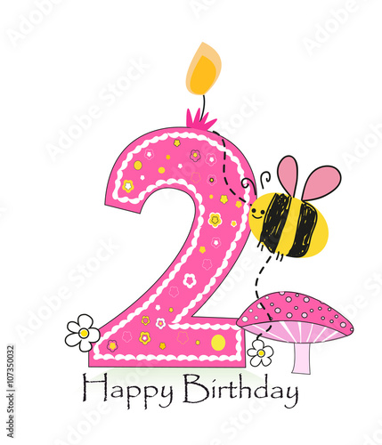 """""""Happy Second Birthday Candle. Baby Girl Greeting Card"""