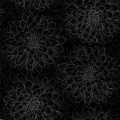 beautiful black and white seamless pattern in  dahlia