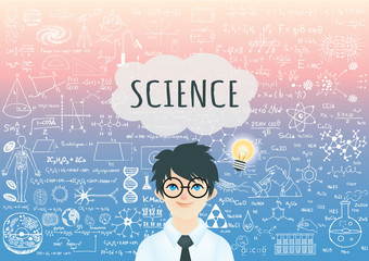 Genius boyGenius boy with bright light bulb , word Science in speech bubble and science formula background