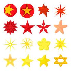 Star icons set, cartoon style