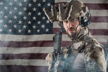 US Army Soldier on American Flag Background