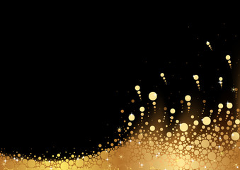 Golden Snow over Black Background - Abstract Illustration, Vector