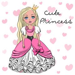 Cute Princess in a pink dress