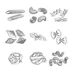 Different sorts of traditional pasta made in sketch style. Great design element for italian restaurants and pasta restaurants.