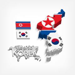 North Korea ( Democratic People 's Republic of Korea ) and South Korea 3D ( Republic of South Korea ) ( flag and map ) ( transportation and tourism concept )