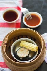 breakfast, dim sum  in bamboo basket