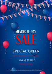 Design of the flyer of Memorial Day sale. Color background with air balloons and with a garland from American flags. American Memorial Day celebration poster, vector illustration.