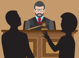 Judge is listening to two lawyers argue their cases