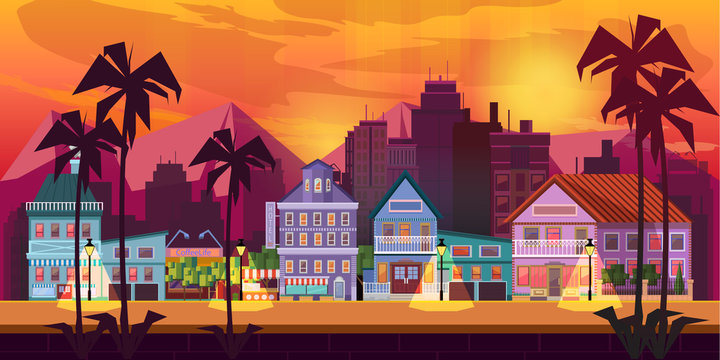 Night City Game Background  2d game application. Vector design. Tileable horizontally. Size 1024x512. Ready for parallax effect