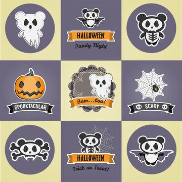 9 Spooky Cute Halloween Pandas. Ghost. Skeleton. Skull and Crossbones. Vampire. Halloween Pandy Night Badge. Spooktacular Pumpkin Badge. BamBoo Badge. Spider Web Scary Badge. Trick or Treat Badge.