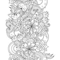 Vector doodle flowers, leaves, tea cups seamless border. Zentangle style decorative element.