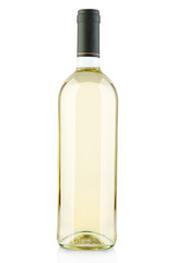 White wine bottle isolated on white, clipping path