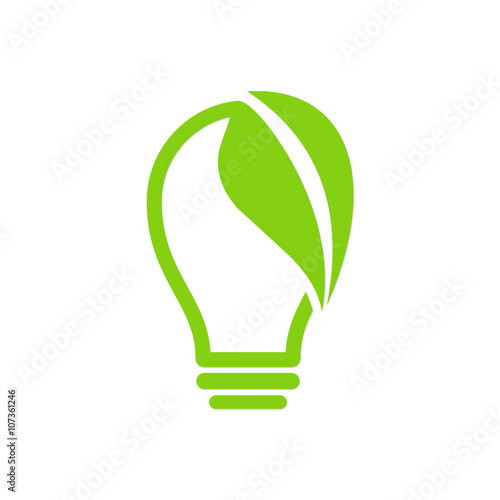 Green Leaf Light Bulb Logo