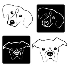 Vector image of dogs. Icons are isolated on white background