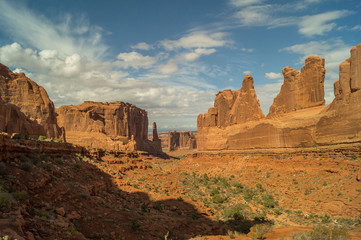 Park Avenue trail in  Arches National park against blue sky.