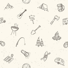 Hand drawn camping seamless pattern.