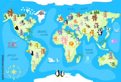Concept Design World Map With Animals Of All The Continents And - Continents map for kids