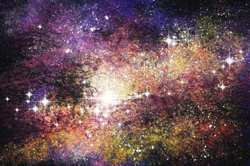 Fantasie Sternenwelt Beloved Malerei mit Deckfarben auf Papier und digitale Weiterverarbeitung