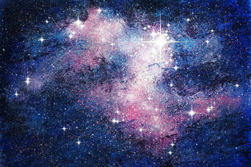 Fantasie Sternenwelt NewAndromeda Malerei mit Deckfarben auf Papier und digitale Weiterverarbeitung