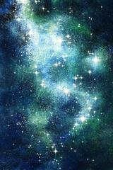 Fantasie Sternenwelt Skydancer Malerei mit Deckfarben auf Papier und digitale Weiterverarbeitung
