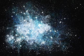Fantasie Sternenwelt Spinnennebel Malerei mit Deckfarben auf Papier und digitale Weiterverarbeitung