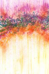 Kleine Malerei mit Deckfarben abstrakt Grün rot