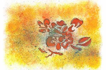 Kleine Malerei mit Deckfarben abstrakt rote Blume auf Gelb