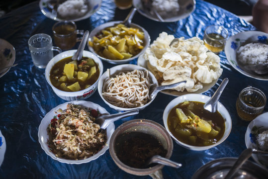 Burmese food in Pankam Village, a popular area for trekking in Hsipaw Township, Shan State