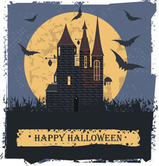 Happy Halloween card  with Stylis Witch Castle