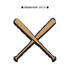 Baseball Crossed Bats icon 6  Vector EPS10, Great for any use.