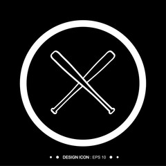 Baseball Crossed Bats icon 2  Vector EPS10, Great for any use.