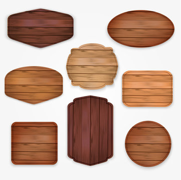 wooden  stickers label collection. Set of various shapes wooden sign boards  for sale,price and discount stickers, banners, badges,placards and billboards. Vector illustration.