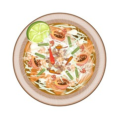 Plate of Green Papaya Salad with Dried Shrimps