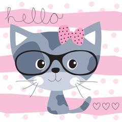 pretty cat vector illustration