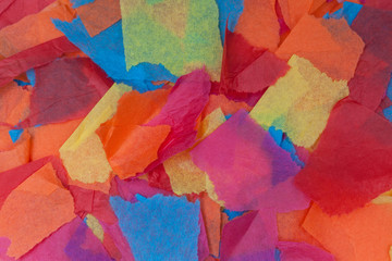 Torn colored tissue paper
