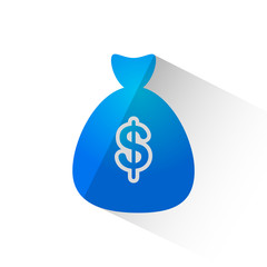 Money bag with dollar symbol flat icon isolate on white background vector illustration eps 10