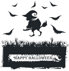 Halloween card with witch silhouette on white background