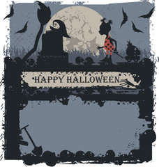 Halloween greeting card with Little witch