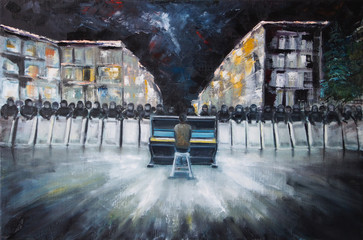 Art Oil Painting Picture Pianist and Power Structure Berkut on Evromaydane in Ukraine