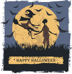 Happy Halloween card  with couple lovely silhouettes