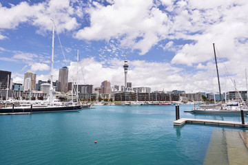 Viaduct Basin with Auckland CBD in the background.