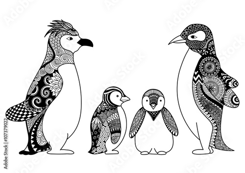 T Shirt Design Line Art : Penguins family line art design for coloring book adult t