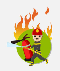 Firefighter Character Running for Rescue
