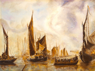Art Oil Painting Picture Sea Battle