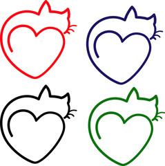 коллаж, сет, контурный вектор котик кошка лежит на сердце
