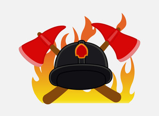 Firefighter Hat and Axe Tools Vector Accessories