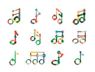 Music note logo set, flat thin line geometric icons