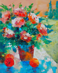 Art Oil Painting Picture Still Life With Roses and Apples