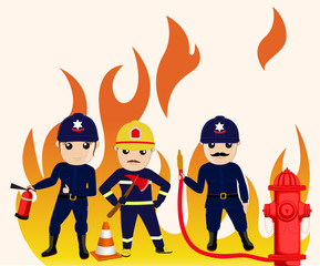 Comic Firefighter Characters Vector Illustrations