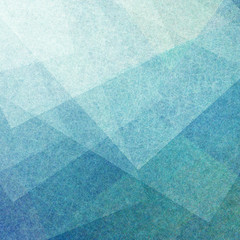 abstract blue background with transparent white parchment squares with linen style texture or brush strokes layered in random pattern with geometric angles and shapes